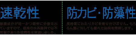 ナノコンポジットW 6つの機能 速乾性/防カビ・防藻性
