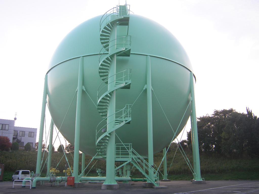 松江市ガス局 南工場球形ガスホルダー 竣工1