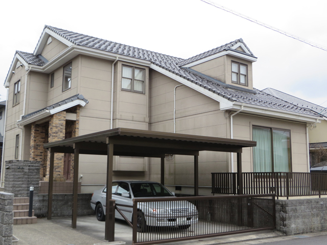K様ご邸宅/2014年5月竣工 外壁:ナノコンポジットW 着工前1
